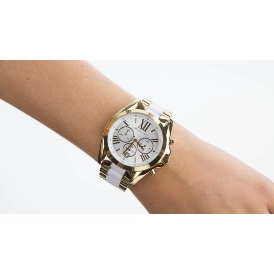 b9bd77a3bca0 Michael Kors MK5743 women s Bradshaw white dial two tone gold plated steel  bracelet chronograph watch is brand new and comes in an original Michael  Kors ...
