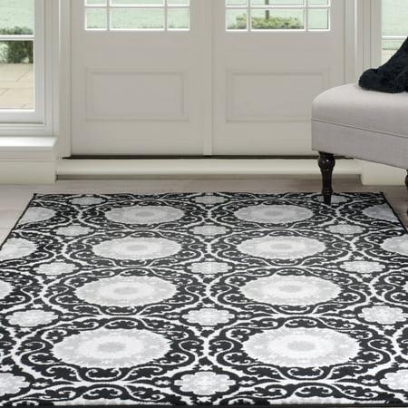somerset home royal damask area rug black