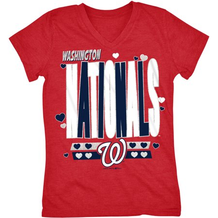 MLB Washington Nationals Girls Short Sleeve Team Color Graphic Tee