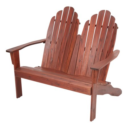 Mainstays Wood Outdoor Two Seat Adirondack Bench ()