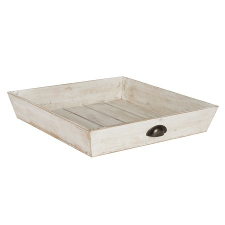 Astounding Kate And Laurel Woodmont Distressed Wood Square Ottoman Tray White Uwap Interior Chair Design Uwaporg