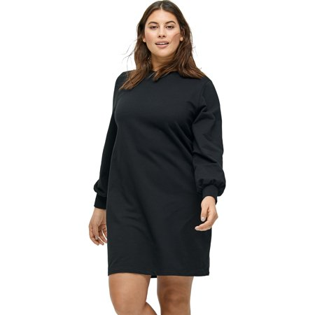 Ellos Plus Size Blouson Sleeve French Terry Dress