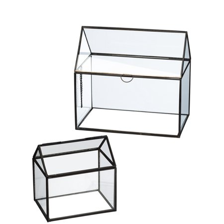 Sullivans N2187 Clear Glass with Metal Frame Mini Terrariums, Clear/Black, 6 and 9 inches, Set of (Clear Metal)