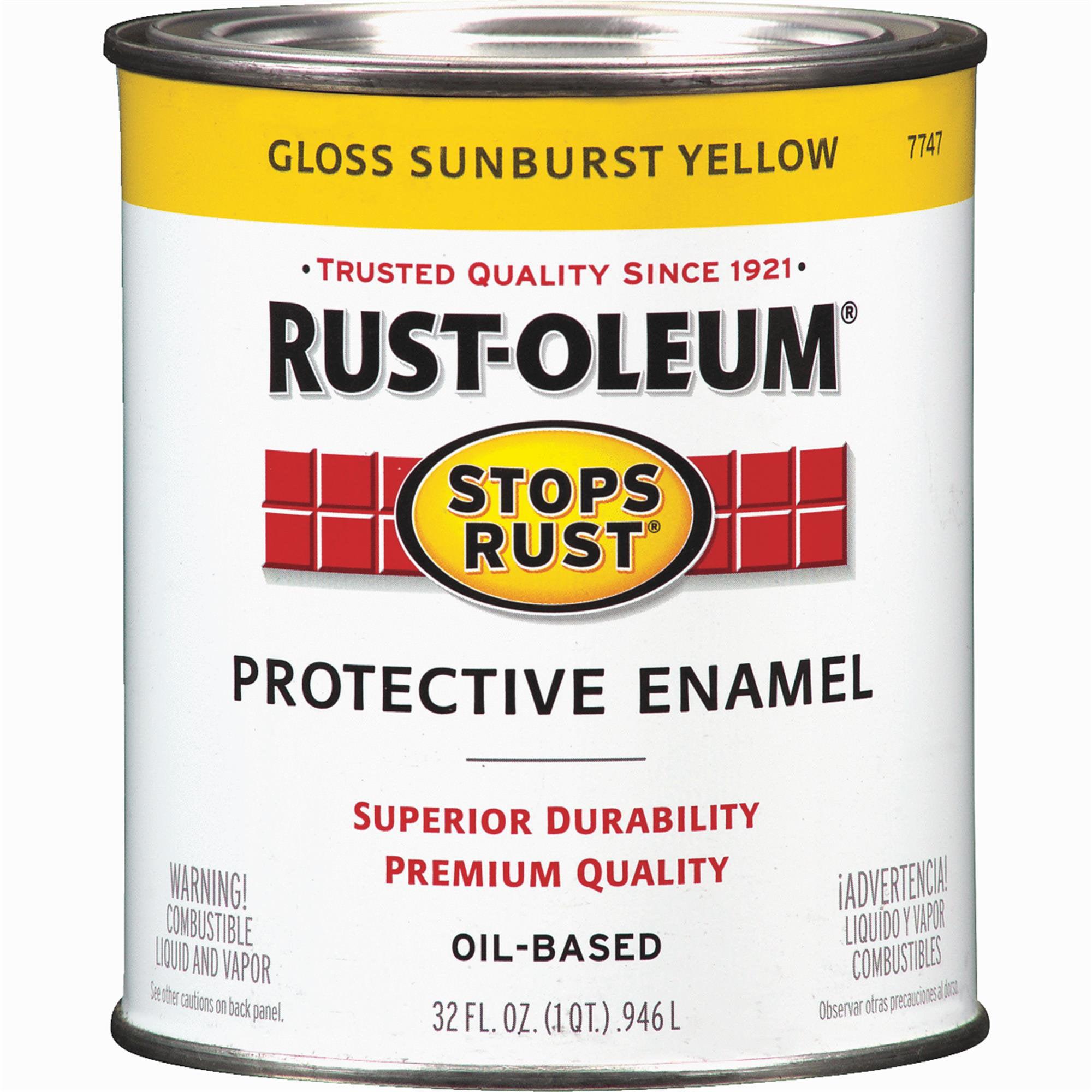 Enamel Paint,Sun Yellow,Solvent,1 qt. RUST-OLEUM 7747502