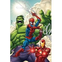 Marvel Adventures Super Heroes No.1 Cover: Spider-Man, Iron Man and Hulk Print Wall Art By Roger Cruz