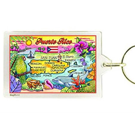 - Puerto Rico Map Acrylic Rectangular Souvenir Keychain 2.5 inches X 1.5 inches