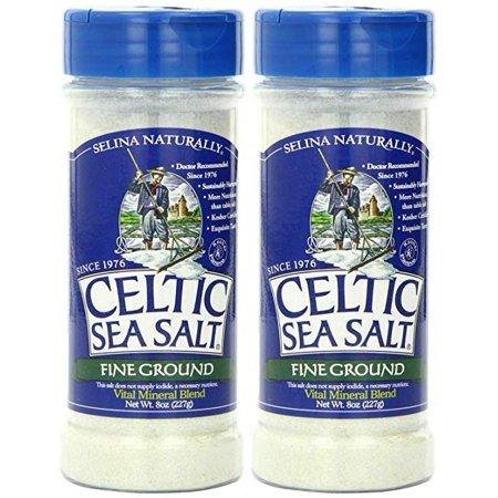 (2 Pack) Celtic Sea Salt Fine Ground Shaker Jar, 8 Ounce
