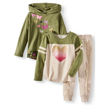 Long Sleeve Hoodie, Raglan Tee & Jogger Pants, 3pc Outfit Set (Toddler Girls) - Ninja Girl Outfits