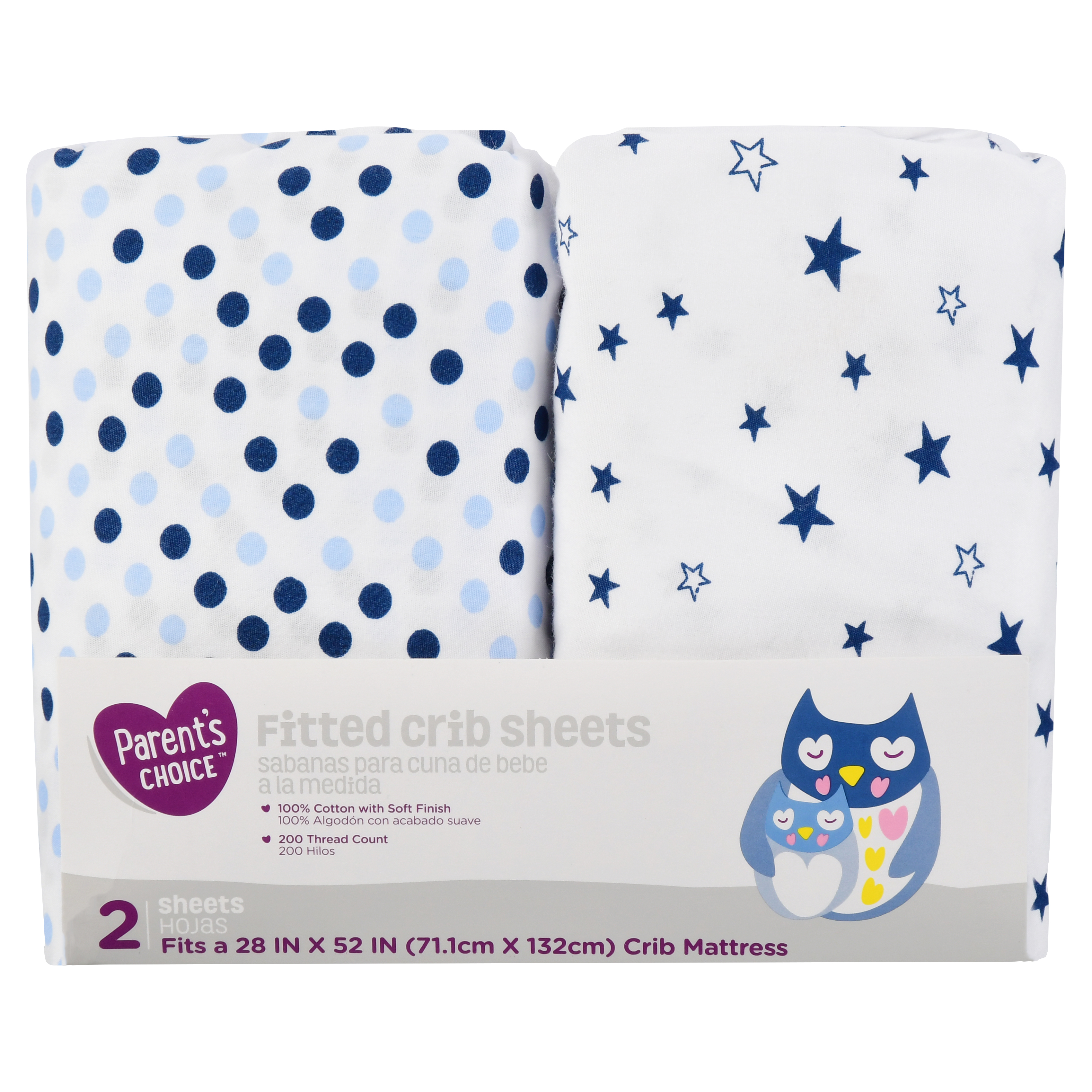 Parent's Choice Fitted Crib Sheets, Blue Star Print, 2 Pack