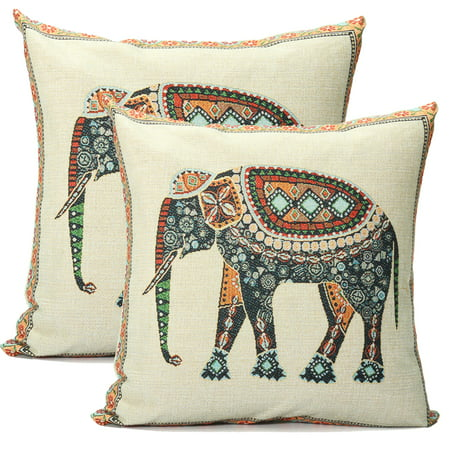 """2Pcs Elephant Pillow Cushion Cover Indian Knitted Cotton Linen Pillow Case Pillowslip Pillow Protector Cover 16.5""""x16.5"""""""