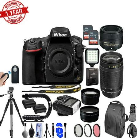 Nikon D810 36.3MP 1080P DSLR Camera w/ Wi-Fi & GPS Ready+ 4 Lens - 21 to 300mm - 128GB- 24PC Kit - Nikon 50mm 1.8D - Nikon 70-300mm f/4-5.6G - image 1 of 1