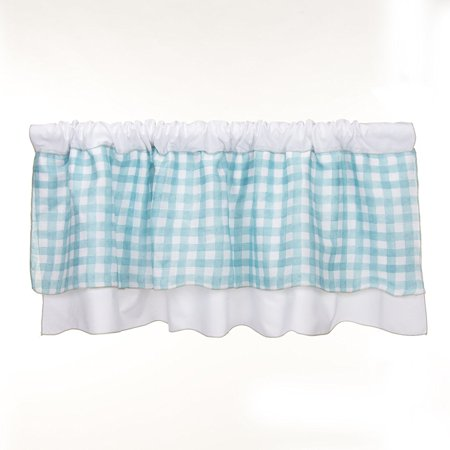 - Glenna Jean Cottage Collection Willow Window Valance, White with Spa plaid, 70' x 18'