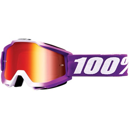 100% Accuri Framboise Youth MX Offroad Goggles w/ Mirror Lens Purple/White/Red