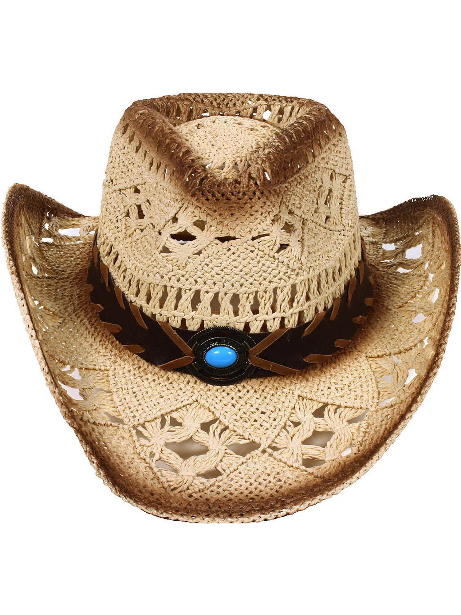 359be6ce96cbe Simplicity Men s   Women s Western Style Cowboy   Cowgirl Straw Hat with  Bull Black - Walmart.com
