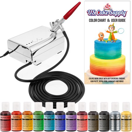 U.S. Cake Supply Complete Cake Decorating Airbrush Kit w/ 12 Vivid Airbrush Food Colors Decorate Cakes, Cupcakes Dessert
