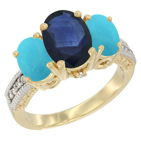 10K Yellow Gold Diamond Natural HQ Blue Sapphire Ring 3-Stone Oval 8x6mm with Turquoise, (Best Quality Yellow Sapphire Gemstone)