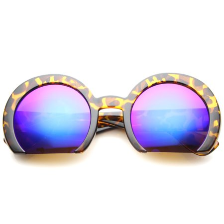 sunglassLA - Women's Oversize Semi-Rimless Flat Bottom Mirror Lens Round Sunglasses - (Sunglasses Without Bottom Frame)