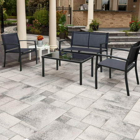 Walnew 4 Pieces Patio Furniture Outdoor furniture Outdoor Patio Furniture Set Textilene Bistro Set Modern Conversation Set Black Bistro Set with Loveseat Tea Table for Home, Lawn and Balcony (Black) ()