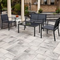 Deals on 4Pcs Walnew Metal Patio Conversation Furniture Set w/Coffee Table