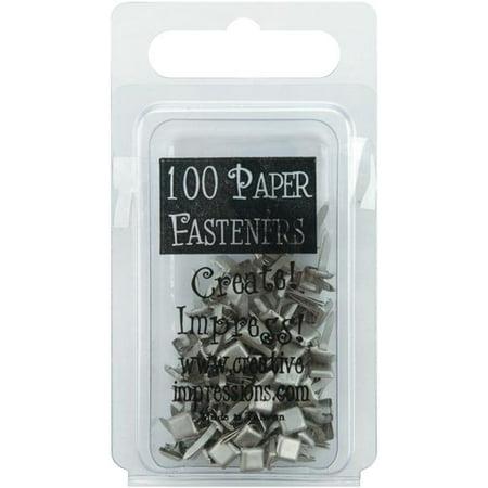 Creative Impressions 7325596 Mini Metal Paper Fasteners 3mm 100/pkg-square - Pewter Creative Impressions Painted Metal
