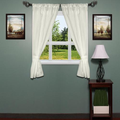 bed bath n more Classic Hotel Quality Water Resistant Fabric Curtain Set with Tiebacks