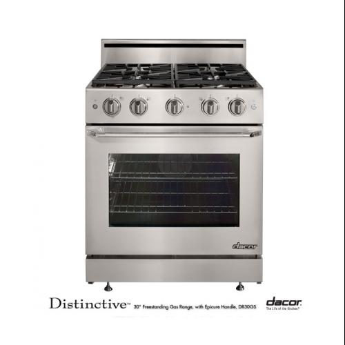 "Dacor  DR30GSNG Distinctive 30"" Freestanding Gas Range with Natural Gas  4.8 cu.ft. Convection Oven  4 Burners  Epicure"