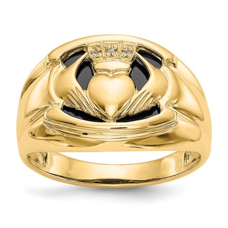 - 14K Yellow Gold 5 MM Men's Onyx and Diamond Claddagh Ring, Size 10