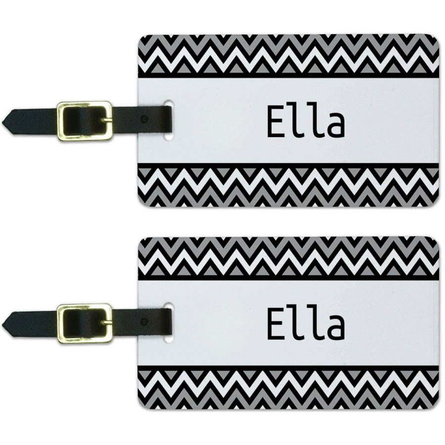 Ella Black and Grey Chevrons Luggage Suitcase Carry-On ID Tags, Set of 2