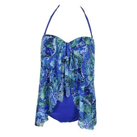 Lauren Ralph Lauren Blue Strapless Paisley Print Flyaway One-Piece Swimsuit 10