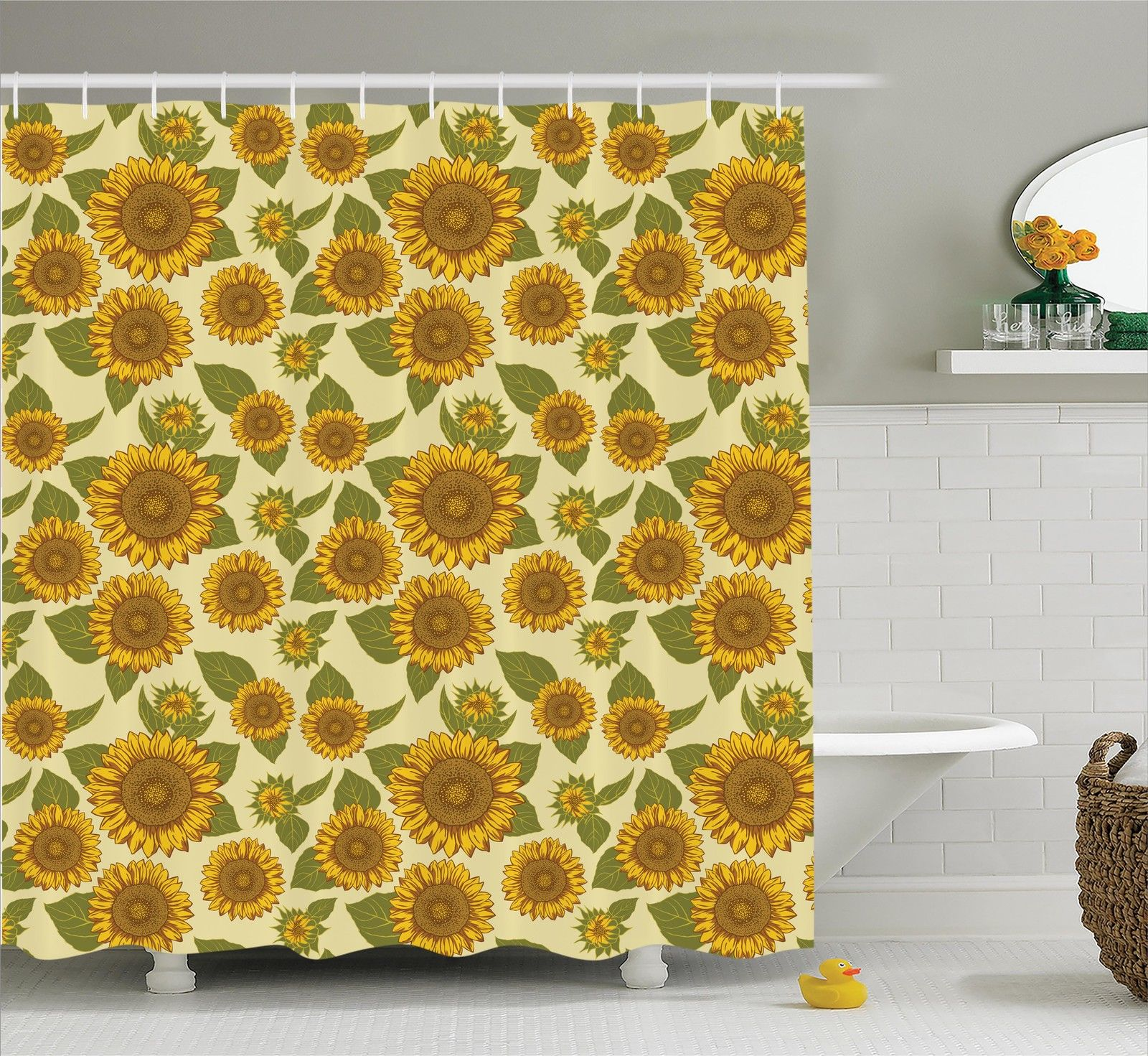 Sunflower Decor  Funky Style Sunflower In Pastel Colors Old-Fashioned Nostalgic Vintage Art Print, Bathroom Accessories, 69W X 84L Inches Extra Long, By Ambesonne
