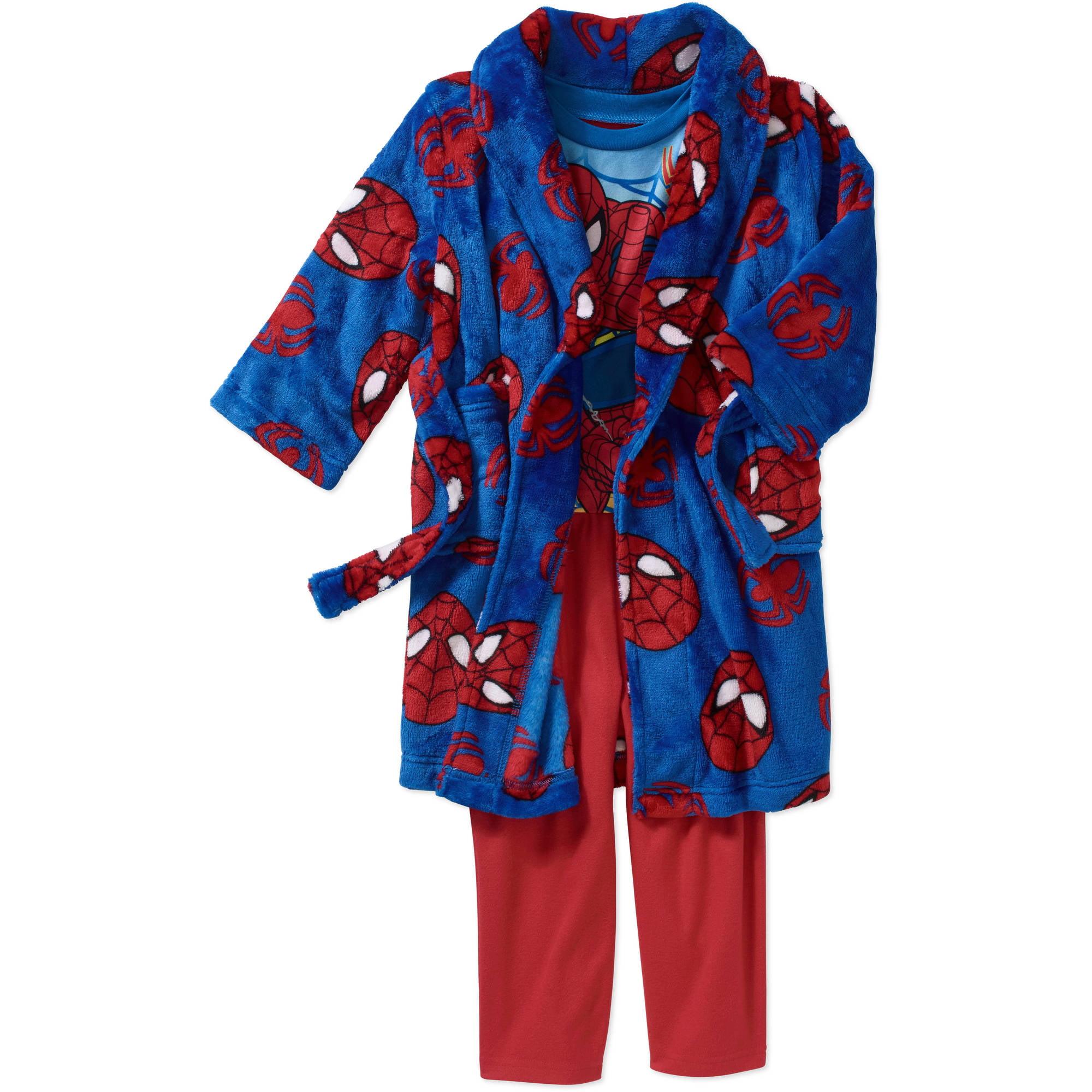 Spiderman Toddler Boy Robe and Pajama 3-Piece Sleepwear Gift Set
