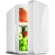 SMG 6L Mini Fridge,Mini Fridge for Bedroom,Small Fridge Portable,12V 220V Compact Mini Refrigerator Cooler,Dual-use Single Door Mini Freezer