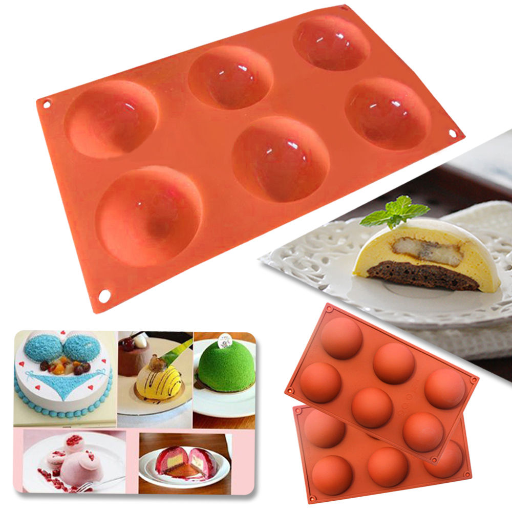 Iclover 6 Cavity Half Circle Silicone Mold For Making Delicate