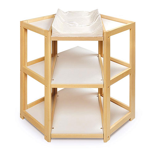 Badger Basket Diaper Corner Changing Table, Natural
