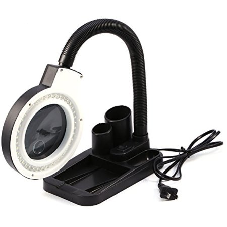 Light Magnifier Lamp - Estink Magnifying glass with light Desk Lamp,40 LED Adjustable Illuminated Lighting Table Lamp Loupes Magnifier Glass With Pen Container,5X 10X