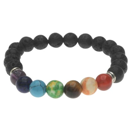 Natural Lava Gemstone and Mixed Bead Chakra Bracelet, Round Stretch 8mm, 1 Bracelet, Black/Assorted