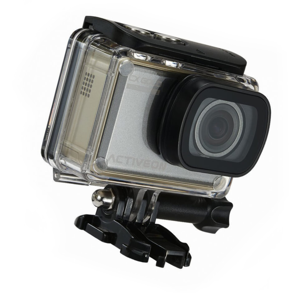 ACTIVEON CX Gold Action Camera (1080p 60fps, 16MP CMOS Sensor) - Touchscreen LCD - Waterproof Housing - Smartphone Control