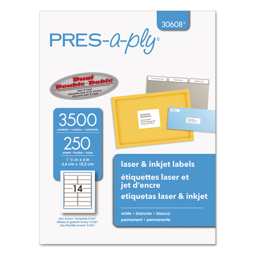 Laser Address Labels, 1 1/3 x 4, White, 3500/Box AVE30608