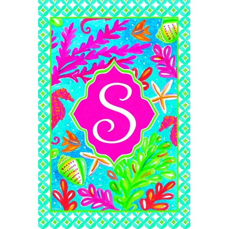 Tropical Fish and Coral Coastal Monogram S Double Sided 12 X 18 Inch Garden - Tropical Paper Garden