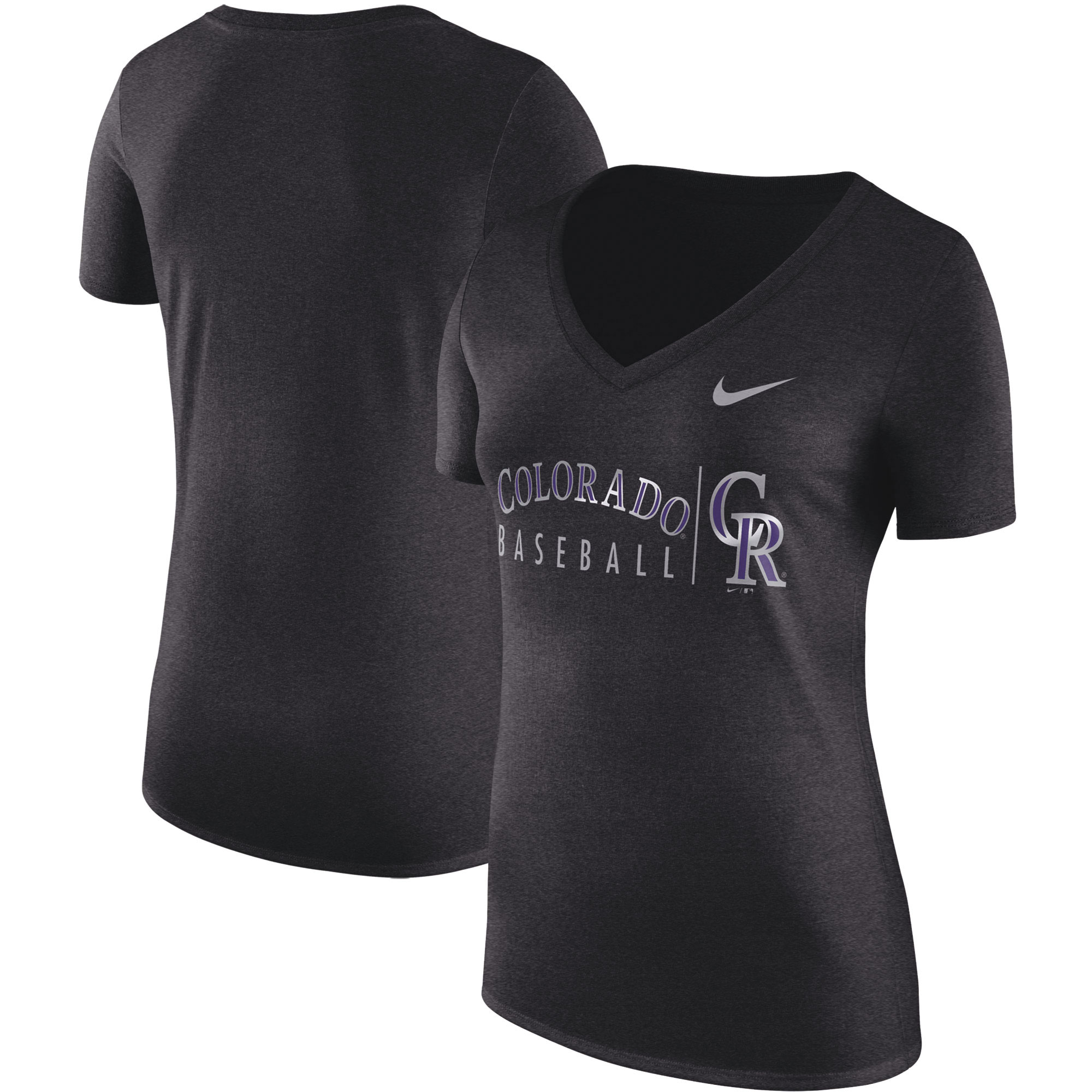 Colorado Rockies Nike Women's Tri-Blend Practice T-Shirt - Black