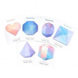 Fancyleo 30 Sheets Cute Diamond Self-Adhesive Memo Pad Sticky Notes Sticker Label Show Time, Random