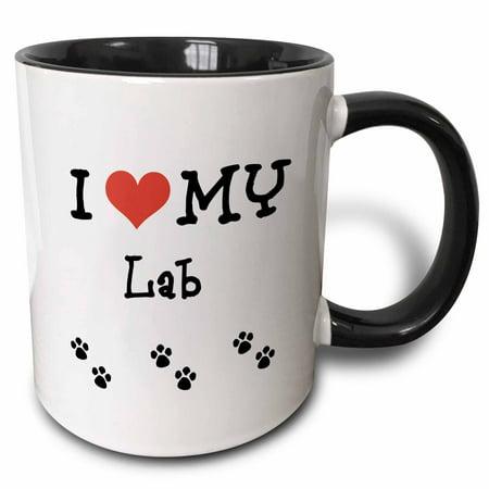3dRose I Love My - Lab - Two Tone Black Mug, 11-ounce ()