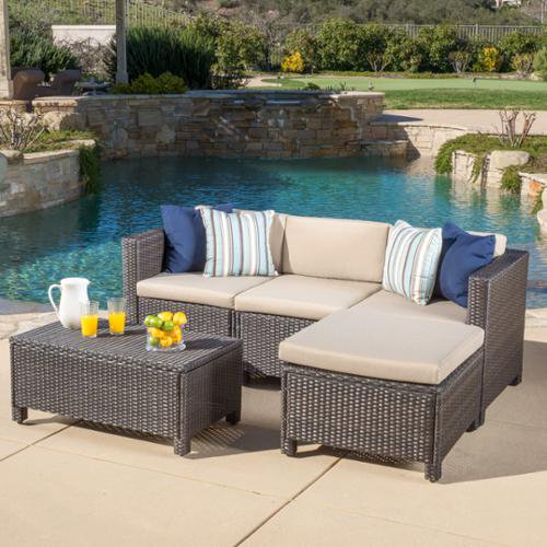 Raleigh Outdoor 5 Piece L Shape Wicker, Patio Furniture Raleigh