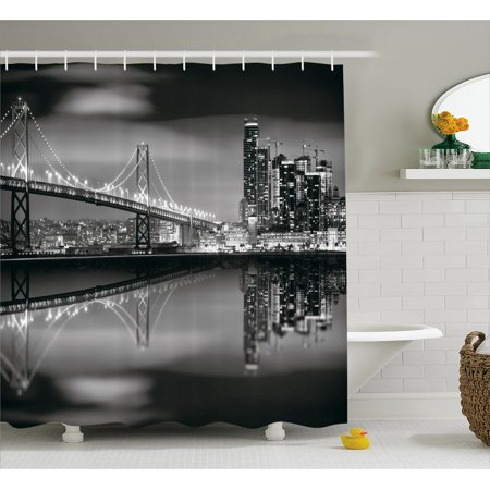 Black And White Decorations Shower Curtain  San Francisco Bay Bridge Metropolis Panorama Skyscrapers  Fabric Bathroom Set With Hooks  69W X 84L Inches Extra Long  Black Grey White  By Ambesonne