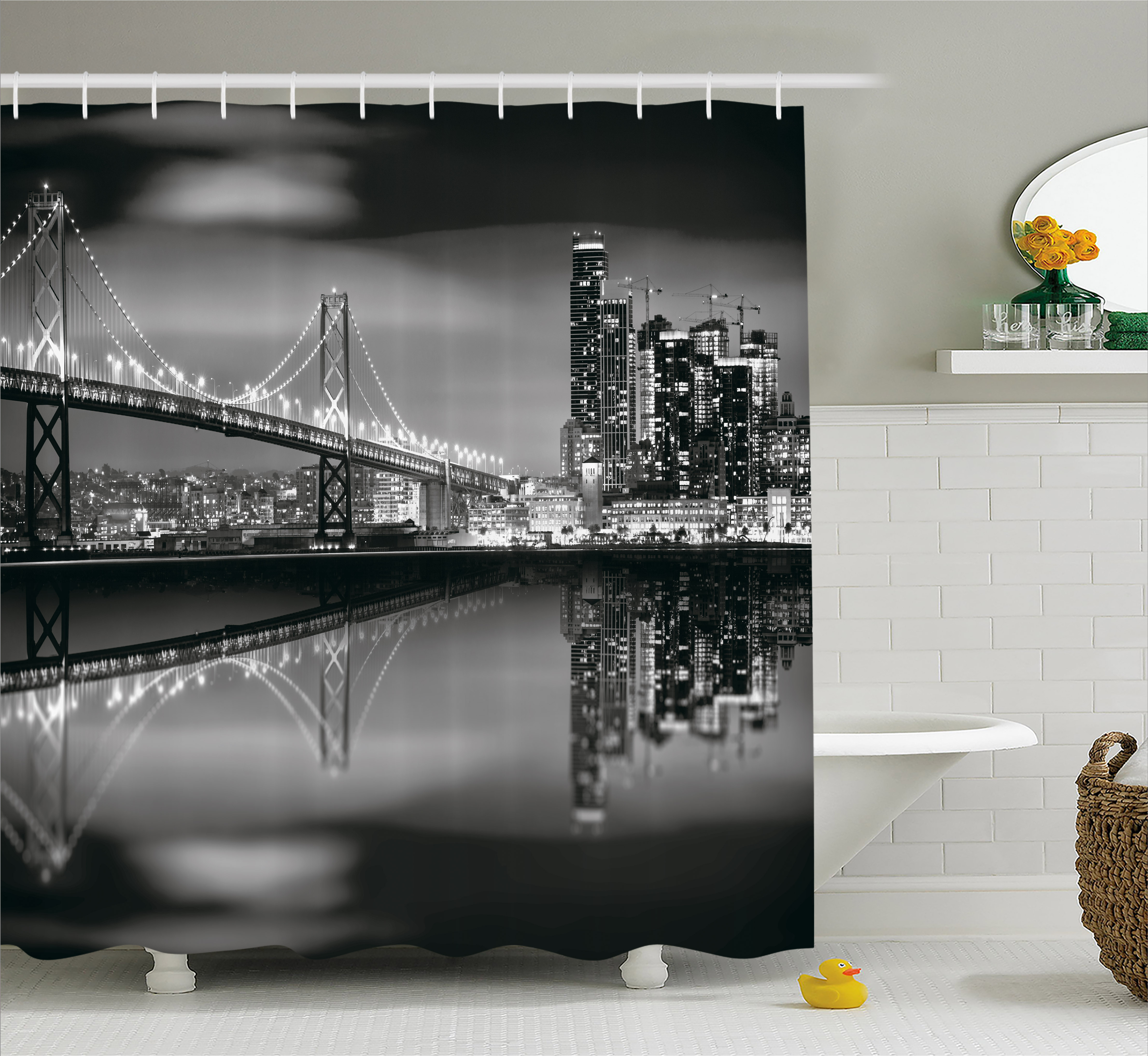 Exceptionnel Black And White Decorations Shower Curtain, San Francisco Bay Bridge  Metropolis Panorama Skyscrapers, Fabric