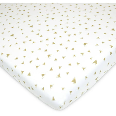 American Baby Company Printed 100% Natural Cotton Jersey Knit Fitted Pack N Play Playard Sheet, Taupe Triangles, Soft Breathable, for Boys and Girls