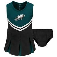 Toddler Midnight Green/Black Philadelphia Eagles Cheerleader Dress & Bloomers Set