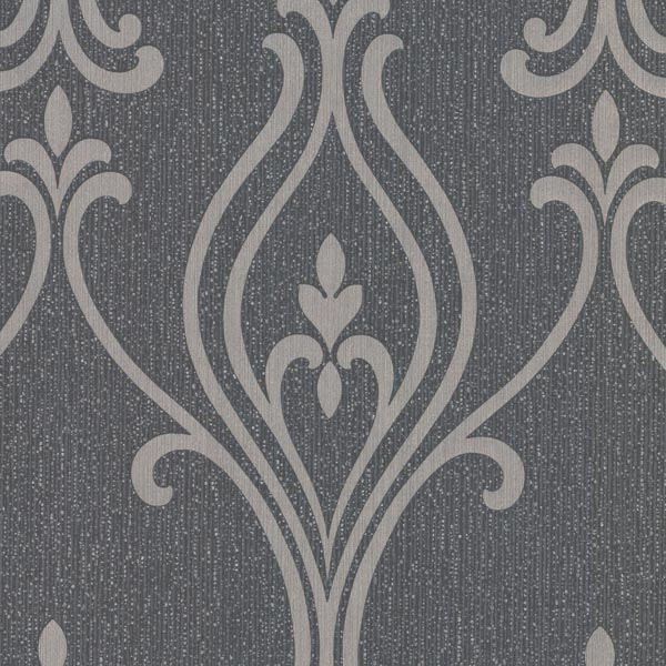 Decorline Luca Charcoal Damask Wallpaper