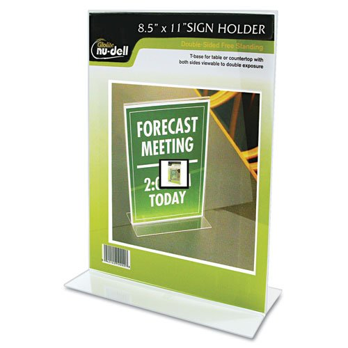 "Nu-dell Double-sided Sign Holder - 8.50"" Width X 11"" Height - Acrylic - Clear (38020z)"