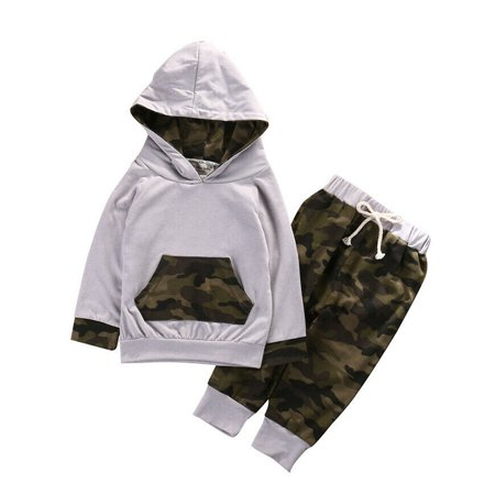 2PCS Kids Baby Toddler Boys Camouflage Clothes T-shirt Tops Pants Legging Outfit Christmas Gifts thumbnail